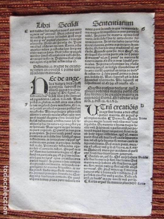 1510.-HOJA POST-INCUNABLE. QUATTUOR LIBRORUM SENTENTIARUM COMPENDIUM.GUILLERMI VORILLONIS. ORIGINAL (Libros Antiguos, Raros y Curiosos - Literatura - Otros)