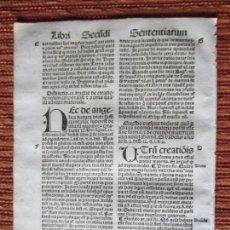 Libros antiguos: 1510.-HOJA POST-INCUNABLE. QUATTUOR LIBRORUM SENTENTIARUM COMPENDIUM.GUILLERMI VORILLONIS. ORIGINAL. Lote 144792681