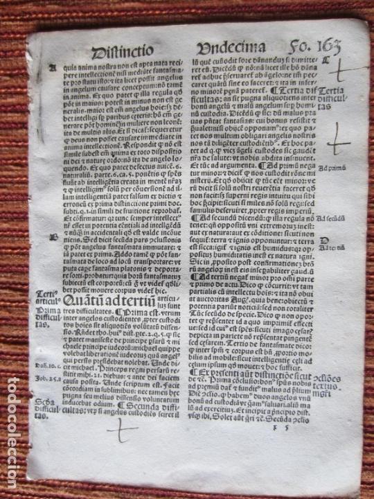 Libros antiguos: 1510.-HOJA POST-INCUNABLE. QUATTUOR LIBRORUM SENTENTIARUM COMPENDIUM.GUILLERMI VORILLONIS. ORIGINAL - Foto 2 - 144792681