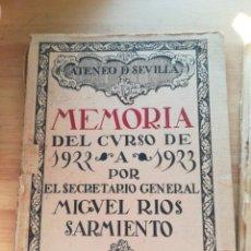 Libros antiguos: ATENEO DE SEVILLA MEMORIA DEL CURSO DE 1922 AL 1923. Lote 144863470