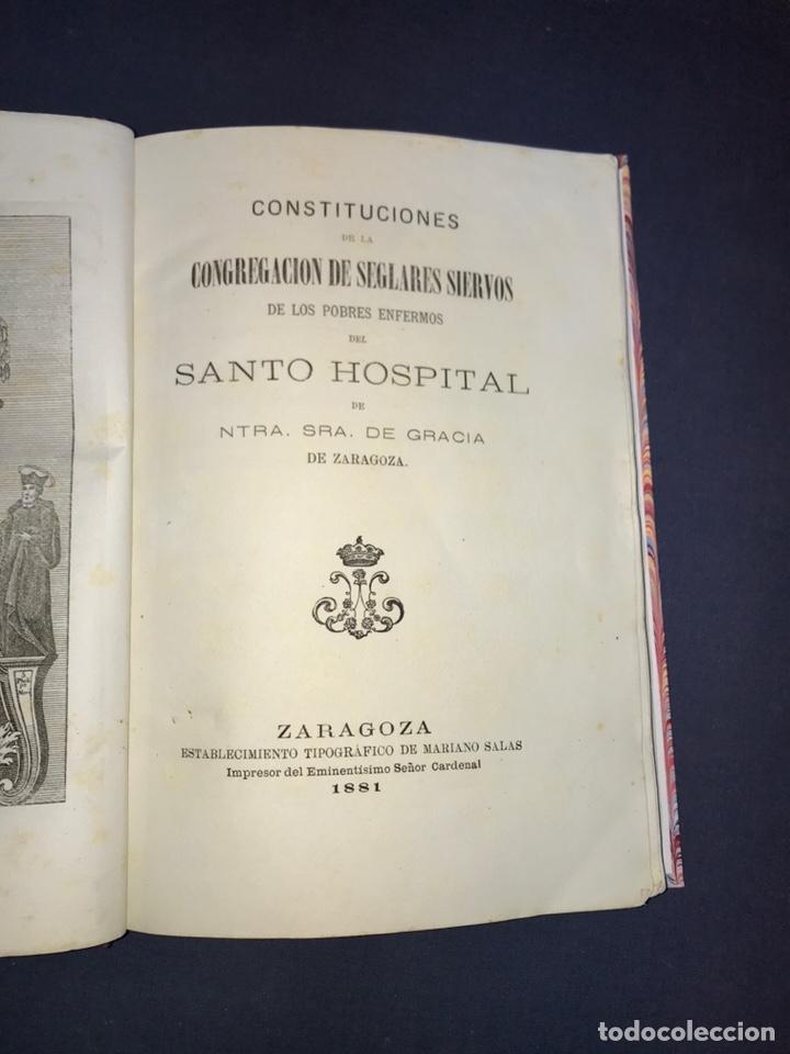 Libros antiguos: ZARAGOZA. HERMANDAD DE LA SOPA. 1881. CONSTITUCIONES CONGREGACION SANTO HOSPITAL N. S. DE GRACIA. - Foto 3 - 144873938