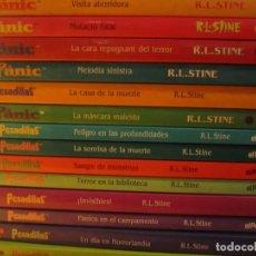 Libros antiguos: LOTE 14 LIBROS 9 PESADILLAS EN CASTELLANO 5 PANIC EN CATALAN R.L.STINE. Lote 145430006