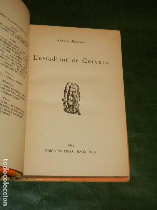 Libros antiguos: L'Estudiant de Cervera, de Alfons Maseras. Proa, Biblioteca A tot vent 1935 - Foto 2 - 145441114