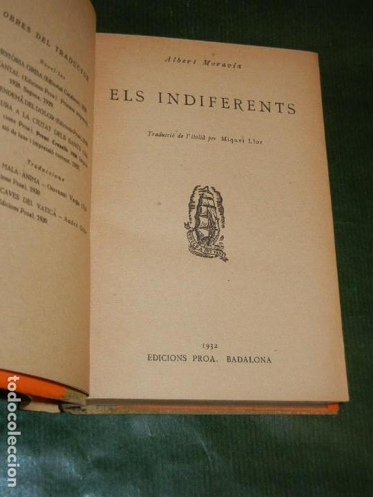 Libros antiguos: ELS INDIFERENTS, DE ALBERTO MORAVIA. TRAD. MIQUEL LLOR - ED.PROA 1932 - Foto 2 - 145441438