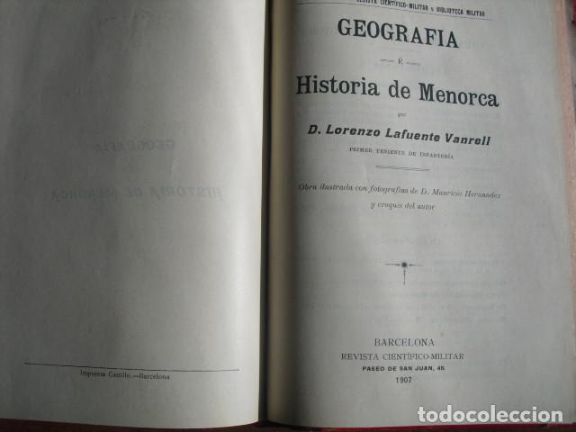 Libros antiguos: 1907 GEOGRAFIA E HISTORIA DE MENORCA LORENZO LAFUENTE VANRELL - Foto 2 - 179954837