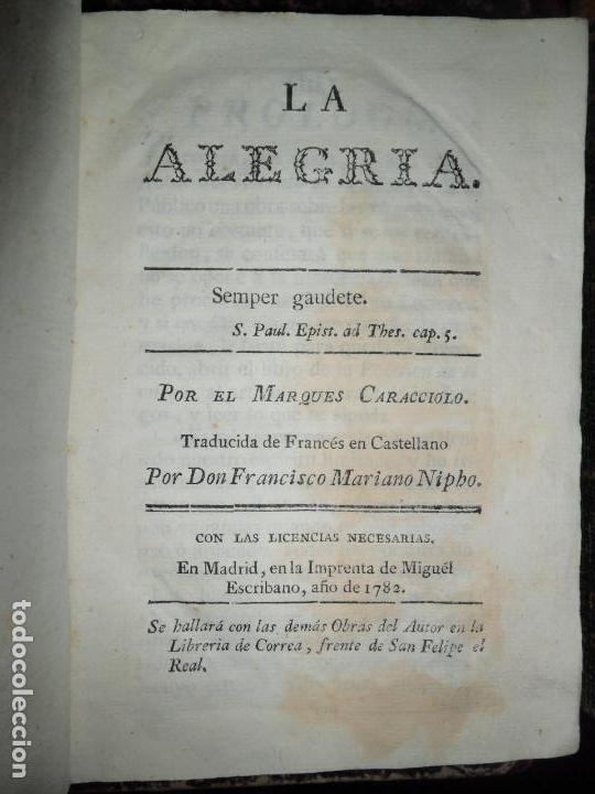 LA ALEGRÍA, MARQUÉS CARACCIOLO, IMP. MIGUEL ESCRIBANO, ENCUADERNADO EN PERGAMINO, 1782 (Libros Antiguos, Raros y Curiosos - Pensamiento - Otros)