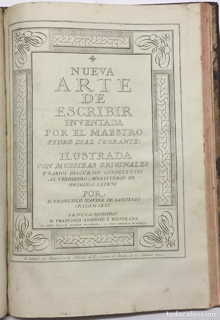 Libros antiguos: PALOMARES. ARTE NUEVA DE ESCRIBIR.... SANCHA. MADRID, 1776. 40 GRABADOS ASSENSIO Y MEJORADA - Foto 3 - 145707150