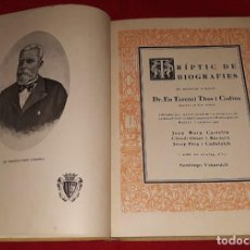 Livres anciens: TRÍPTIC DE BIOGRAFIES DR. EN TERENCI THOS I CODINA. Lote 145950206