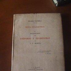 Libros antiguos: BIBLIOFILIA, NUEVA EPANORTOSIS AL DICCIONARIO DE ANÓNIMOS Y SEUDÓNIMOS DE J. T. MEDINA. Lote 146034338