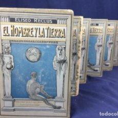 Libros antiguos: ELISEO RECLUS EL HOMBRE Y LA TIERRA 6 VOL., 1906-1909, 1ª EDICION ESCUELA MODERNA COMPLETO. Lote 146228630