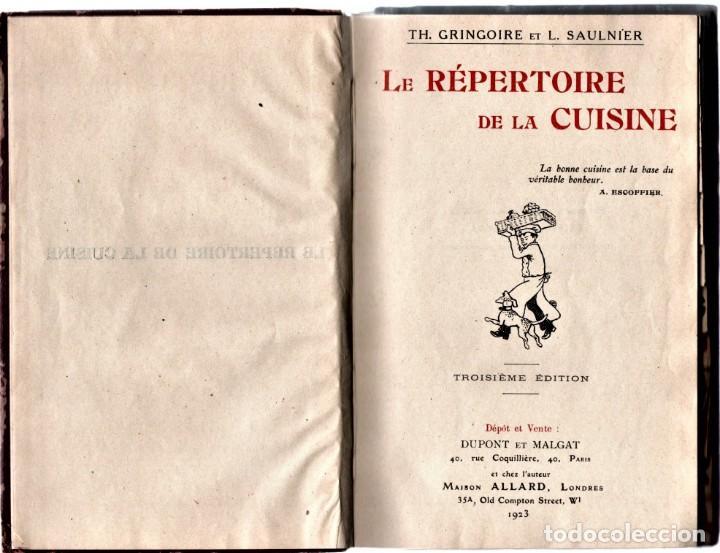 ANTIGUO LIBRO COCINA-GASTRONOMIA FRANCESA,AÑO1923,DIRECTORIO DE COCINA,COCINEROS Y CHEFS,7000 PLATOS (Libros Antiguos, Raros y Curiosos - Cocina y Gastronomía)