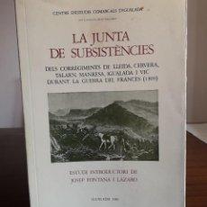 Libros antiguos: LIBRO ..LA JUNTA DE SUBSISTÈNCIA . Lote 146519602