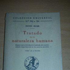 Libros antiguos: TRATADO DE LA NATURALEZA HUMANA. DAVID HUME. TOMO III.. Lote 146729929