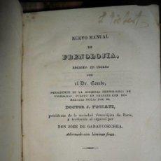 Libros antiguos: NUEVO MANUAL DE FRENOLOGÍA, DR. COMBE, CÁDIZ, 1840, ADORNADO CON LÁMINAS FINAS. Lote 146734594