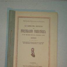 Libros antiguos: VALENCIA: LA LABOR DEL SERVICIO DE INVESTIGACIÓN PREHISTÓRICA. (AÑOS 1931, 32, 33, 47, 48 Y 50). Lote 146868138