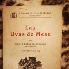 Libros antiguos: LAS UVAS DE MESA, POR LOPEZ EMILIO GUARDIOLA, VALENCIA 1932 CAMARA OFICIAL VALENCIA. Lote 146959546