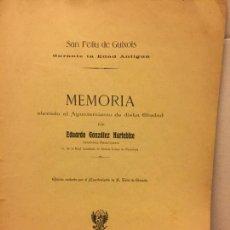Libros antiguos: S.FELIU DE GUIXOLS DURANTE LA EDAD ANTIGUA, MEMORIA ELEVADA AL AYUNTAMIENTO - 1905 - . Lote 147042218