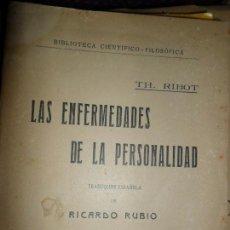 Libros antiguos - Las enfermedades de la personalidad, Th. Ribot, ed. Daniel Jorro, 1912 - 147350498