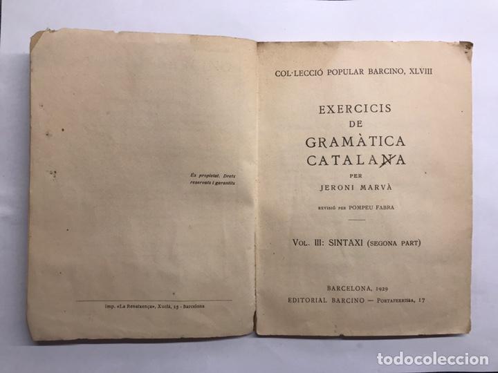 Libros antiguos: CATALUÑA. Exercicis de Gramática Catalana, per Jeroni Marva (a.1929) - Foto 2 - 147616566
