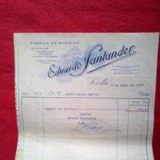 Libros antiguos: TUBAL 1937 SEVILLA RECIBO FABRICA DE MUEBLES EDUARDO SANTANDER RELIEVE B02. Lote 147727662