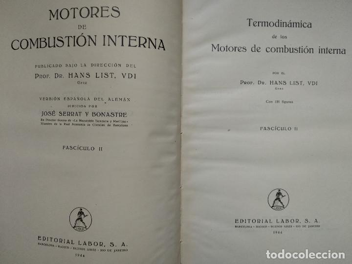 Alte Bücher: Motores de Combustión Interna. Hans List. Volumen II. Editorial Labor 1944 - Foto 2 - 147742666