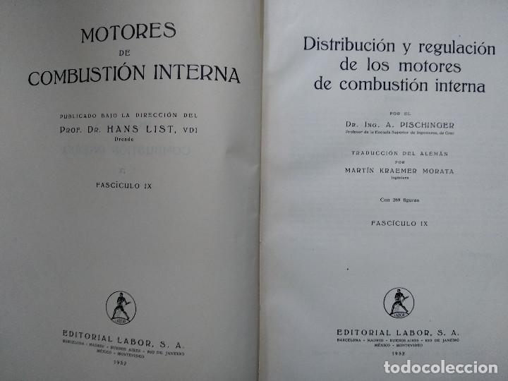 Libros antiguos: MOTORES DE COMBUSTION INTERNA IX - Distribución y regulación... (Hans List) Ed. Labor, 1952 - Foto 2 - 147743058
