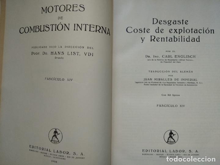 Alte Bücher: MOTORES DE COMBUSTION INTERNA XIV - Desgaste, Costes de explotación... (Hans List) Ed. Labor, 1950 - Foto 2 - 147744042
