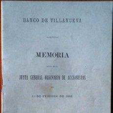 Libros antiguos: BANCO DE VILLANUEVA - MEMORIA 1882. VILANOVA I LA GELTRÚ. Lote 147789398