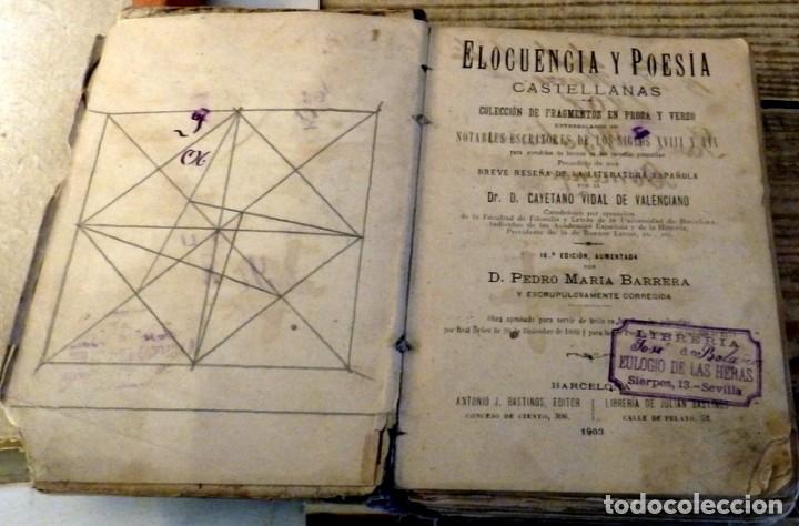 Libros antiguos: cayetano vidal valenciano elocuencia y poesia castellanas bastinos editor barcelona 1903 - Foto 2 - 148058398