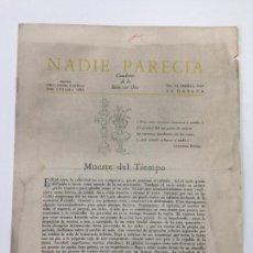 Libros antiguos: NADIE PARECÍA - JOSÉ LEZAMA LIMA - LA HABANA 1943 - N. VI - CUADERNO DE LO BELLO CON DIOS. Lote 148075270