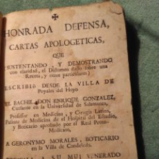 Libros antiguos: 1765? CARTAS APOLOGÉTICAS DEL BACHILLER DON ENRIQUE GONZÁLEZ.. Lote 148109666