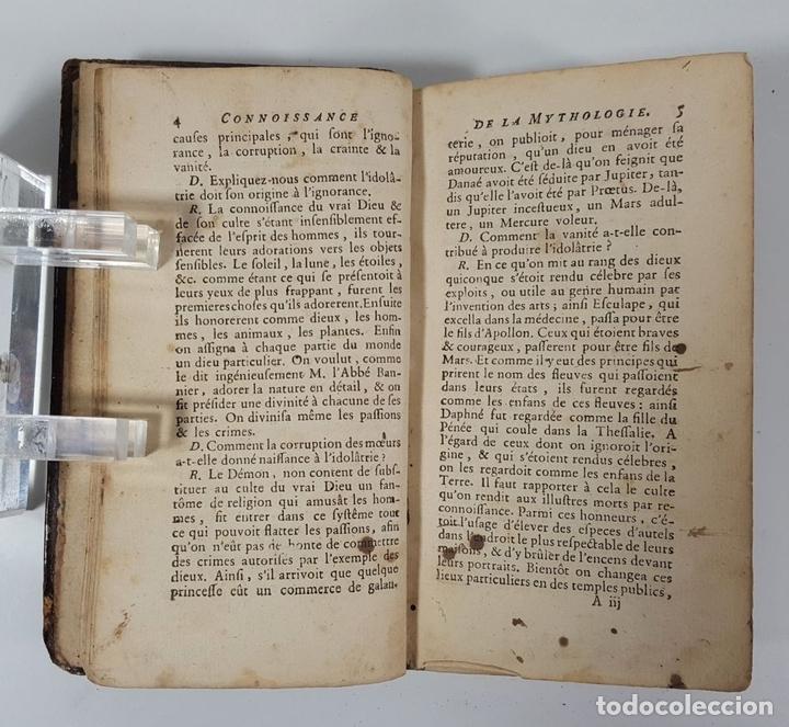 Libros antiguos: CONNOISSANCE DE LA MYTHOLOGIE PAR DEMANDES ET PAR RÉPONSES. LES FRERES PERISSE LYON. 1782. - Foto 6 - 148156070