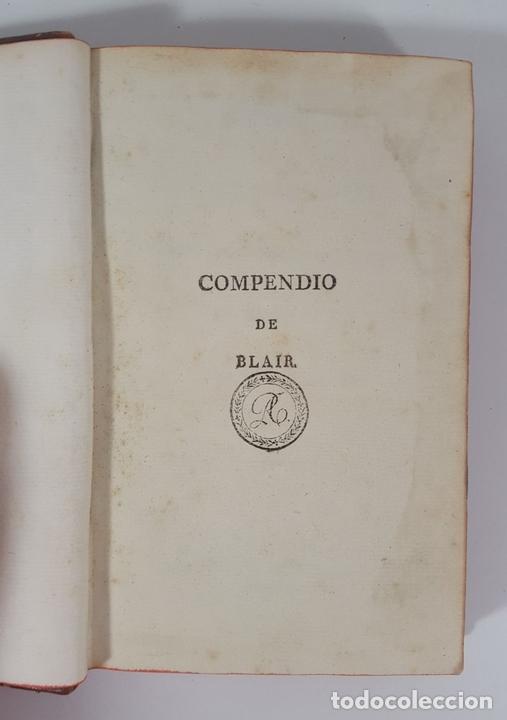 Libros antiguos: COMPENDIO DE LAS LECCIONES SOBRE LA RETÓRICA Y BELLAS LETRAS. HUGO BLAIR. TOLOSSA. 1819. - Foto 3 - 148324234