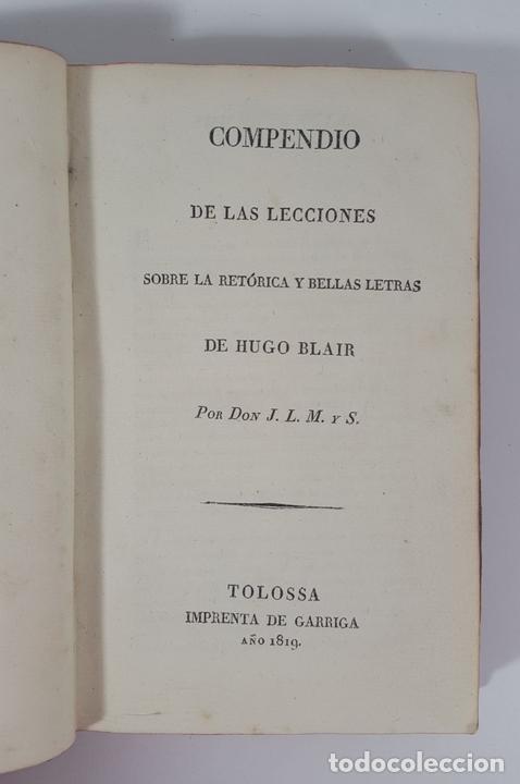 Libros antiguos: COMPENDIO DE LAS LECCIONES SOBRE LA RETÓRICA Y BELLAS LETRAS. HUGO BLAIR. TOLOSSA. 1819. - Foto 4 - 148324234