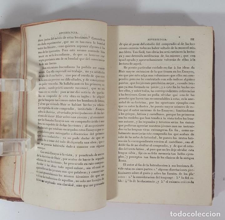 Libros antiguos: COMPENDIO DE LAS LECCIONES SOBRE LA RETÓRICA Y BELLAS LETRAS. HUGO BLAIR. TOLOSSA. 1819. - Foto 8 - 148324234
