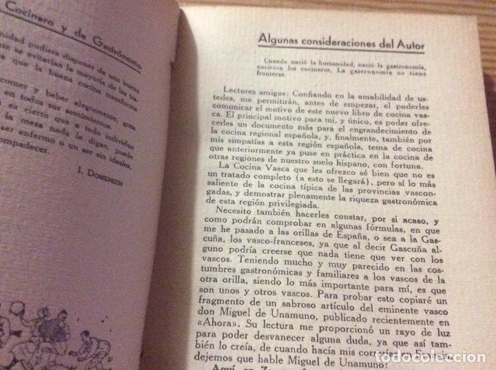 Libros antiguos: LA COCINA VASCA DOMENECH Ignacio. Ed. Publicaciones Selectas de Cocina. - Foto 3 - 148693662