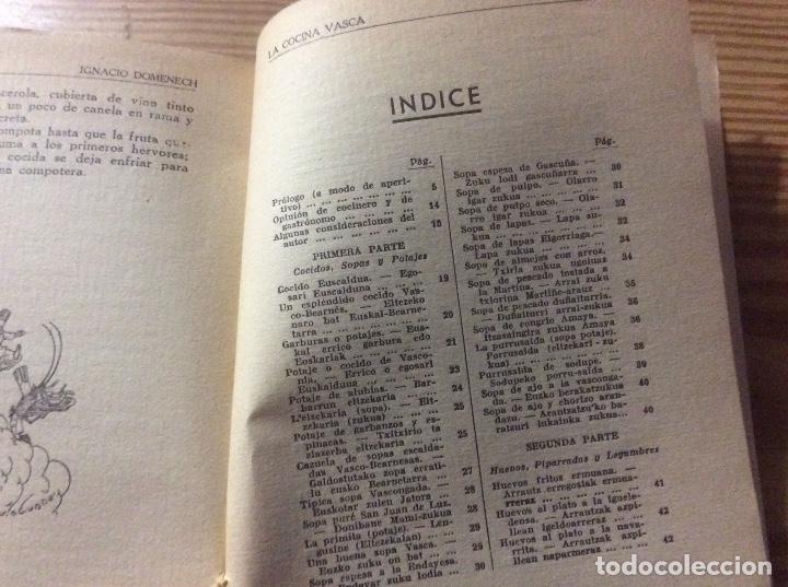 Libros antiguos: LA COCINA VASCA DOMENECH Ignacio. Ed. Publicaciones Selectas de Cocina. - Foto 4 - 148693662