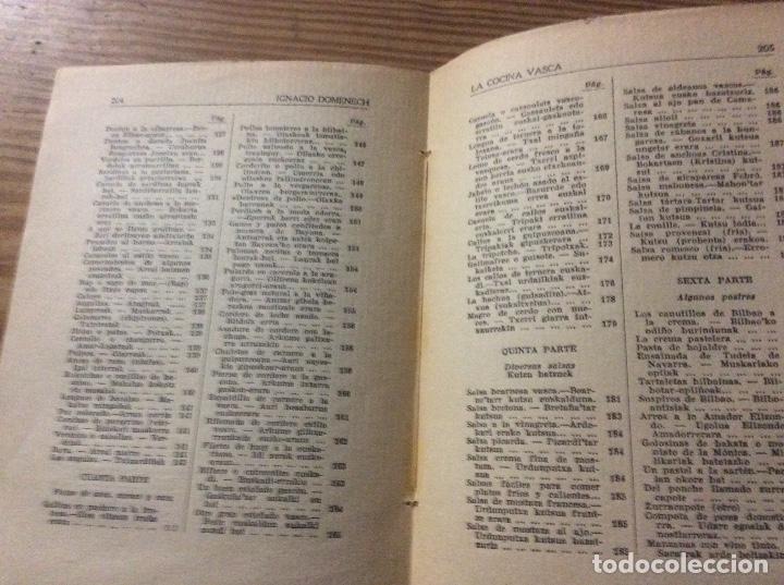 Libros antiguos: LA COCINA VASCA DOMENECH Ignacio. Ed. Publicaciones Selectas de Cocina. - Foto 6 - 148693662