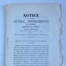Libros antiguos: OUTILS, INSTRUMENTS ET MACHINES EMPLOYÉS EN CULTURE, - AGRICULTURE. Lote 148840862