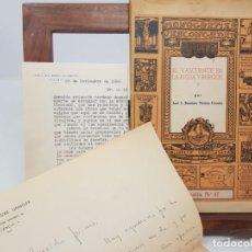 Libros antiguos: EL VASCUENCE EN LA RIOJA Y BURGOS. JOSÉ J.BAUTISTA MERINO URRUTIA. 1962. CORRESPONDENCIA PERSONAL. . Lote 149611426