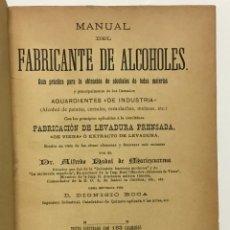 Libros antiguos: MANUAL DEL FABRICANTE DE ALCOHOLES. GUÍA PRÁCTICA PARA LA OBTENCIÓN DE ALCOHOLES DE TODAS MATERIAS Y. Lote 123222387