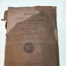 Libri antichi: REVISTA DE ARCHIVOS, BIBLIOTECAS Y MUSEOS - TERCERA ÉPOCA - AÑO XXVI - ENERO-MARZO - 1922 -. Lote 150117098