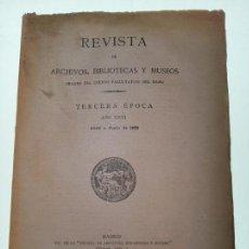 Libri antichi: REVISTA DE ARCHIVOS, BIBLIOTECAS Y MUSEOS - TERCERA ÉPOCA - AÑO XXVI - ABRIL-JUNIO - 1922 -. Lote 150118870