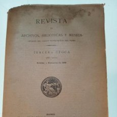 Libri antichi: REVISTA DE ARCHIVOS, BIBLIOTECAS Y MUSEOS - TERCERA ÉPOCA - AÑO XXVI - OCTUBRE-DICIEMBRE - 1922 -. Lote 150120078