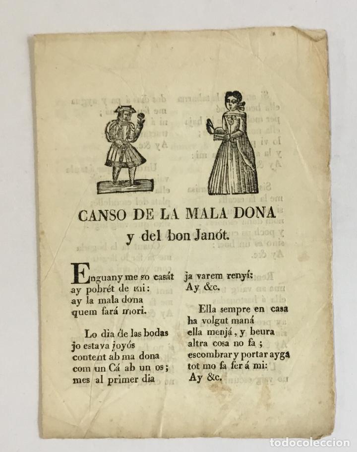 CANSO DE LA MALA DONA Y DEL BON JANÓT.- [ROMANÇ, ROMANCE.] (Libros Antiguos, Raros y Curiosos - Literatura - Otros)
