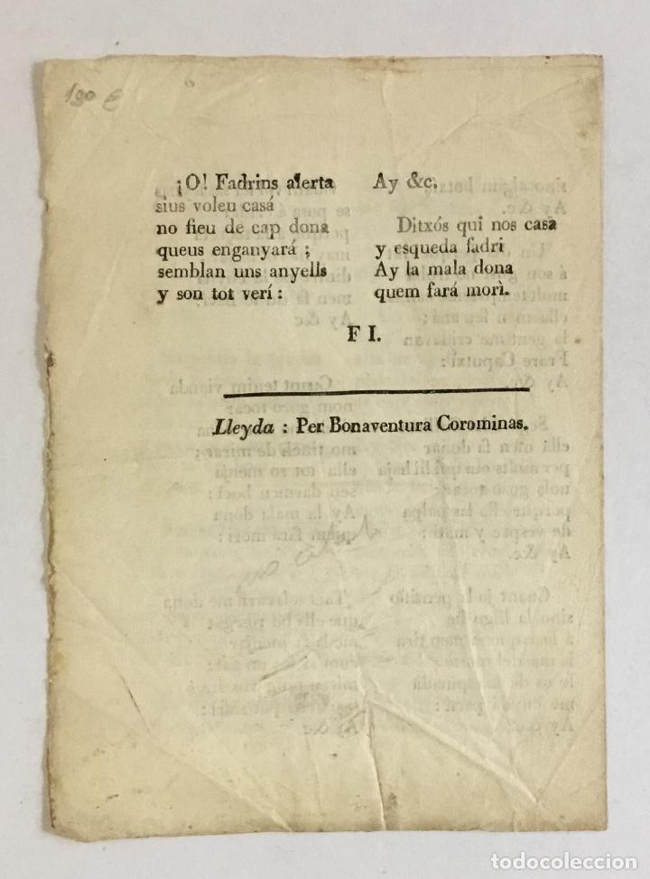 Libros antiguos: CANSO DE LA MALA DONA Y DEL BON JANÓT.- [Romanç, Romance.] - Foto 2 - 150735694