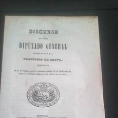 Libros antiguos: PAIS VASCO ALAVA DISCURSO 1848 JUNTA GENERAL.. Lote 150922722