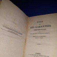 Libros antiguos: ESSAI SUR LES GARANTIES INDIVIDUELLES QUE RÉCLAME L'ÉTAT ACTUEL DE LA SOCIÉTÉ. DAUNOU. AÑO 1822. Lote 151201470