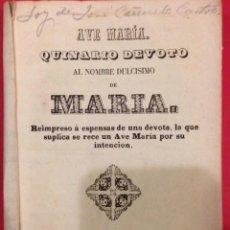Libros antiguos: QUINARIO DEVOTO DE MARIA, CORDOBA 1856. Lote 151283454