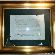 Libros antiguos: ACTA NOTARIAL FINALES SIGLO XV-PERGAMINO 22X18-MARCO: 39X33CM- MUY BUEN ESTADO-. Lote 151290638